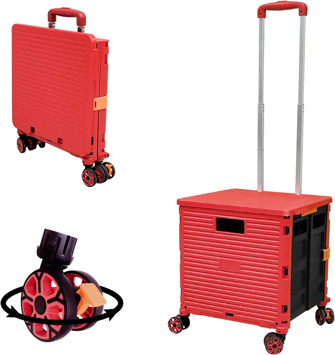 Folding Portable Rolling Crate Handcart Heavy Duty Handle for Travel Shopping