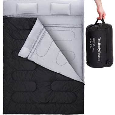 Active Era Double Sleeping Bag with 2 Pillows – Queen Size – Converts into 2 Singles | 3 Seasons - 32 °F Perfect for Camping, Hiking, Outdoors & Travel | Water Resistant and Lightweight