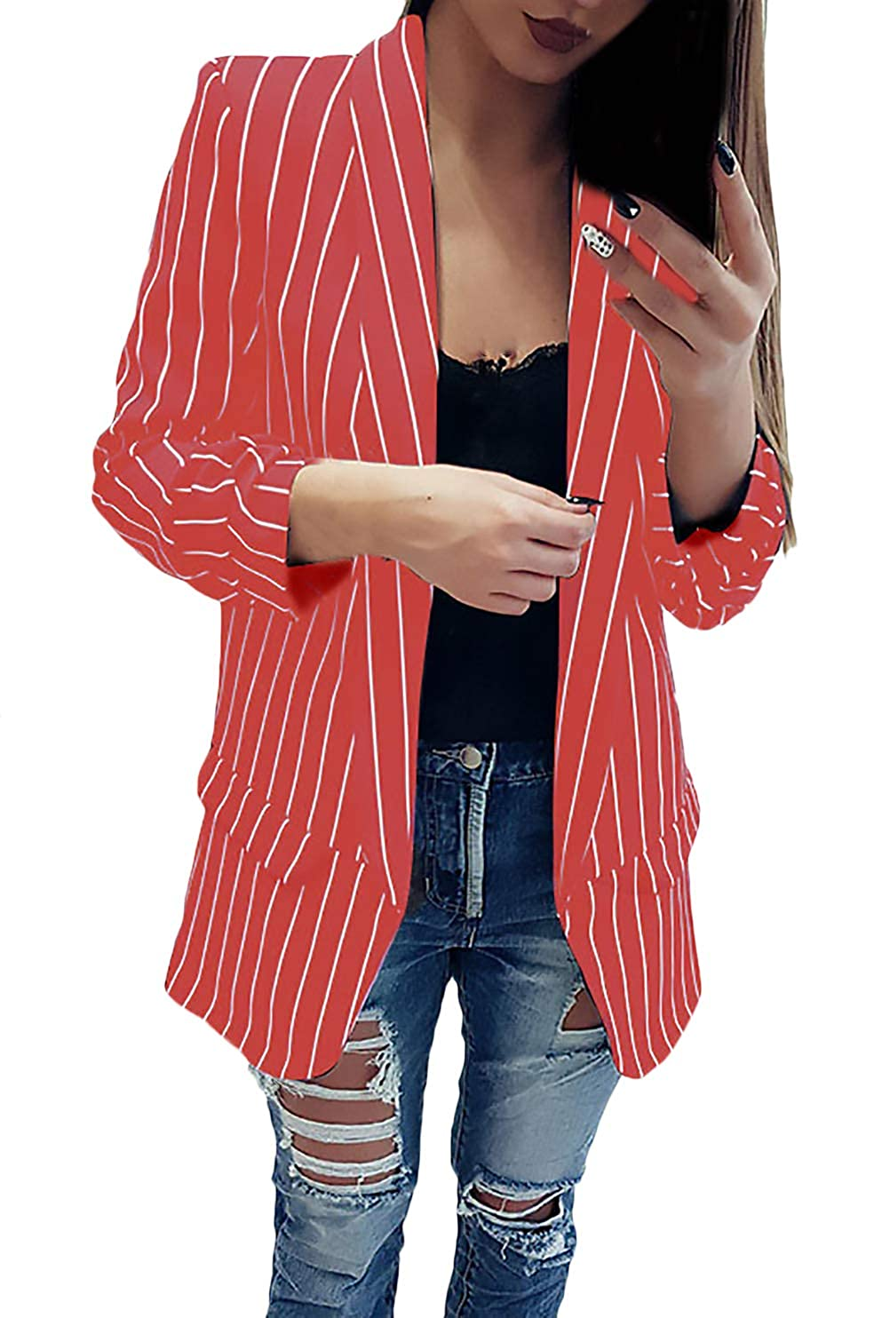 Blazer Mujer De Solapa Manga Larga Slim Fit Flecos Chaqueta De Traje Primavera Otoño Ropa Casual Oficina Negocios Camisa Abrigos: Amazon.es: Ropa y ...