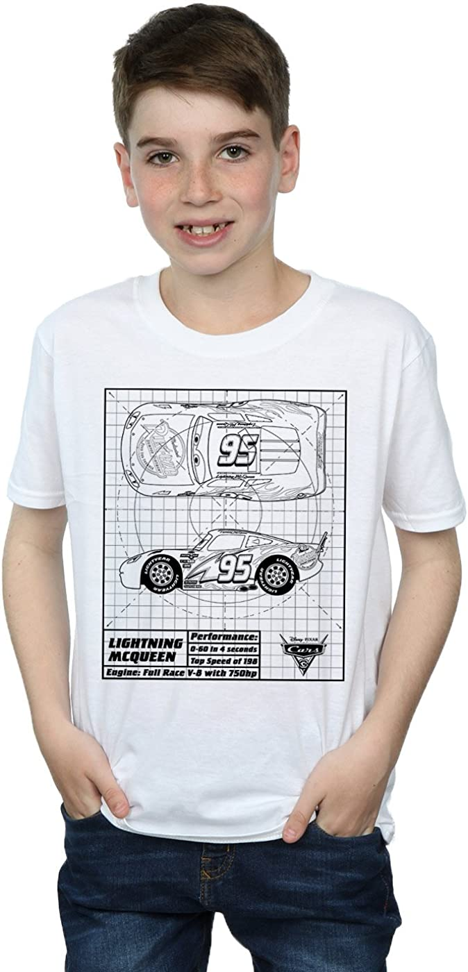 Disney Boys Cars Lightning McQueen Blueprint T-Shirt