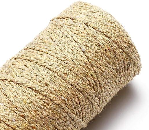 Fibras y textiles Cuerda 2MM DIY Macrame rústico colorido cordón de algodón trenzado de cuerdas decoración de la boda Suministros (Color : Buff): Amazon.es: Bricolaje y herramientas