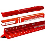 """HoliFiver Triangular Architectural Scale Ruler – 12"""" Imperial Scale for Blueprints, Engineering or Drafting – Perfect Gift for Students, Architects, Engineers – Laser-Etched Aluminum Red Finish"""