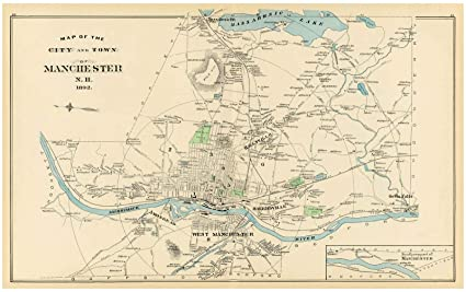 Amazon.com: State Atlas   1892 Manchester, N.H. City, Town ...