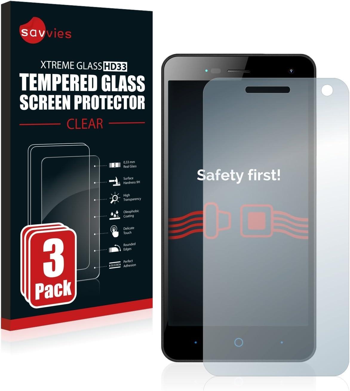 savvies Cristal Templado Compatible con ZTE Blade L3 (3 Unidades) Protector Pantalla Vidrio Proteccion 9H Pelicula Anti-Huellas: Amazon.es: Electrónica