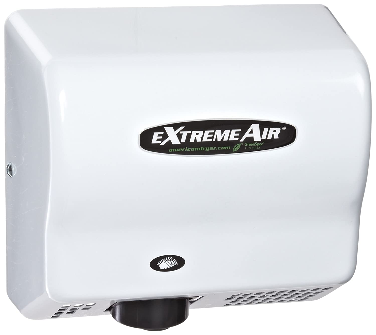 Image of Hand Dryers American Dryer ExtremeAir EXT7-M Steel Cover High-Speed Automatic Hand Dryer, 12-15 Second Dries, 100-240V, 540W Maximum Power, 50/60Hz, White Epoxy Finish