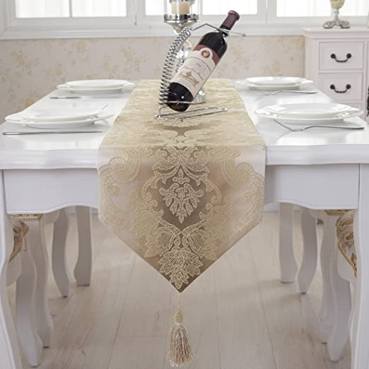Christmas Tablescape Decor - Luxury Champagne Gold Damask Embroidered Tassel Table Runner