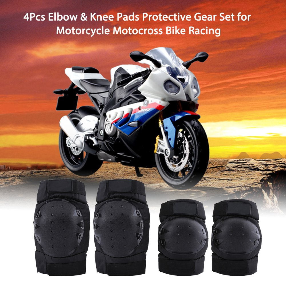2 PCS Motorcycle Elbow and Knee Pads, Keenso Motorcycle Elbow Knee Shin Protector Guard Armors Set Black ATV Motocross Knee Protector Guard for Motocross Cycling, Mountain Biking, Skateboard, Scooter