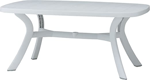 Mesa resina 165x95cm toscana blanco: Amazon.es: Jardín