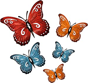 aboxoo Metal Butterfly Wall Decor, Iron Wall Art Hanging Sculpture for Outdoor Porch Patio Fence or Indoor Living Room Bedroom, 5 Pack