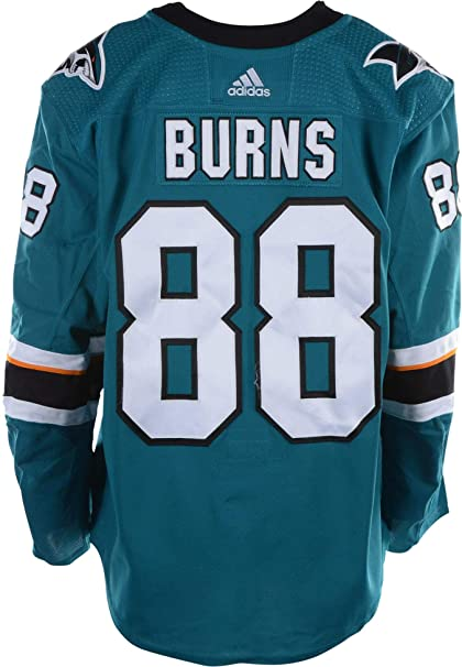 new style 20778 63ab3 Brent Burns San Jose Sharks Game-Used #88 Teal Jersey with ...