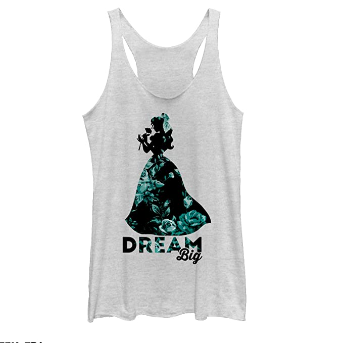 11ae747a599b12 Beauty and The Beast Women s Belle Dream Big Floral Print White Heather  Racerback Tank Top