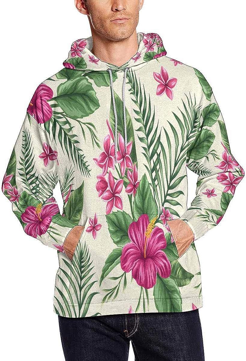 INTERESTPRINT Mens Striped Pattern Floral Hoodies Sport Sweatshirts