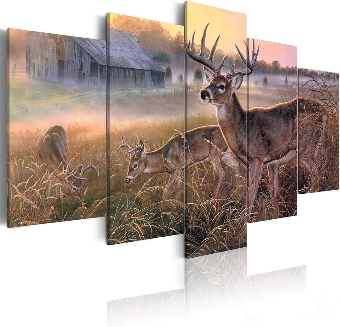 ArtHome520 Yellow Animal Deer Canvas Print Painting Wall Art Home Decor Golden Landscape Picture Living Room Decorations Fashion Framed 5 Panel (12''x18''x2+12''x24''x2+12''x36''x1)