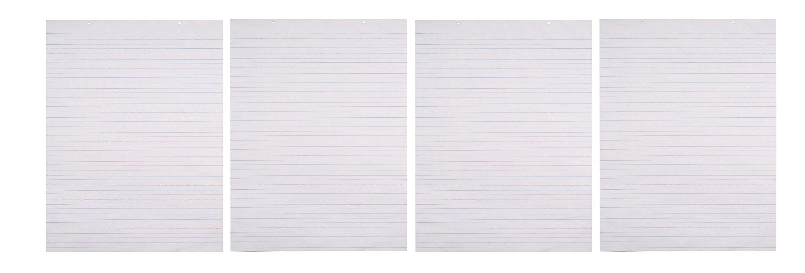 School Smart Primary Chart Paper, 24 x 32 Inches, Ruled 1-1/2 Inch with Dotted Midline, White, 70 Sheets (Fоur Paсk)