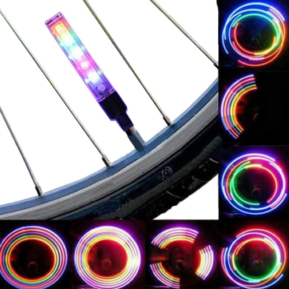 AOR POWER #AR127 Multicolor Bicycle Tire Valve Stem LED Cap Lights, Bike Wheel Lights, 2-Pack