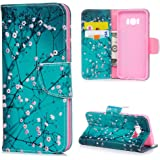 S8 Case, S8 Wallet PU Leather Case Kasos Colorful Green Kapok Cotton Flower Design Flip Case TPU Cover Folio Flip Wallet Case with Card Slots Magnetic Clasp Notebook Style Full Protection Skin with Kickstand & Money Clip Fit for Samsung Galaxy S8, Green