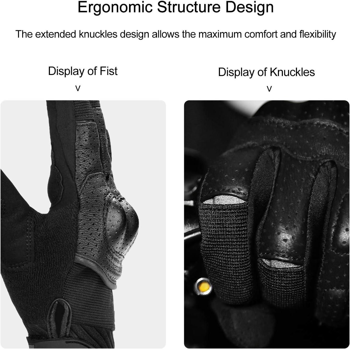 INBIKE Motorcycle Gloves 3mm EVA Palm Pad Motorbike Gloves Full Finger Black Large