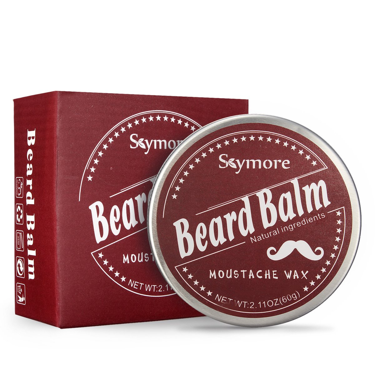 Skymore Beard Balm Natural, Cream Beard Care, Moisturizer Growth Mustaches, Leave-In Conditioner & Softener For Men, Best Facial Hair Grooming, All Hair Types -Perfect Gift For Father's Day