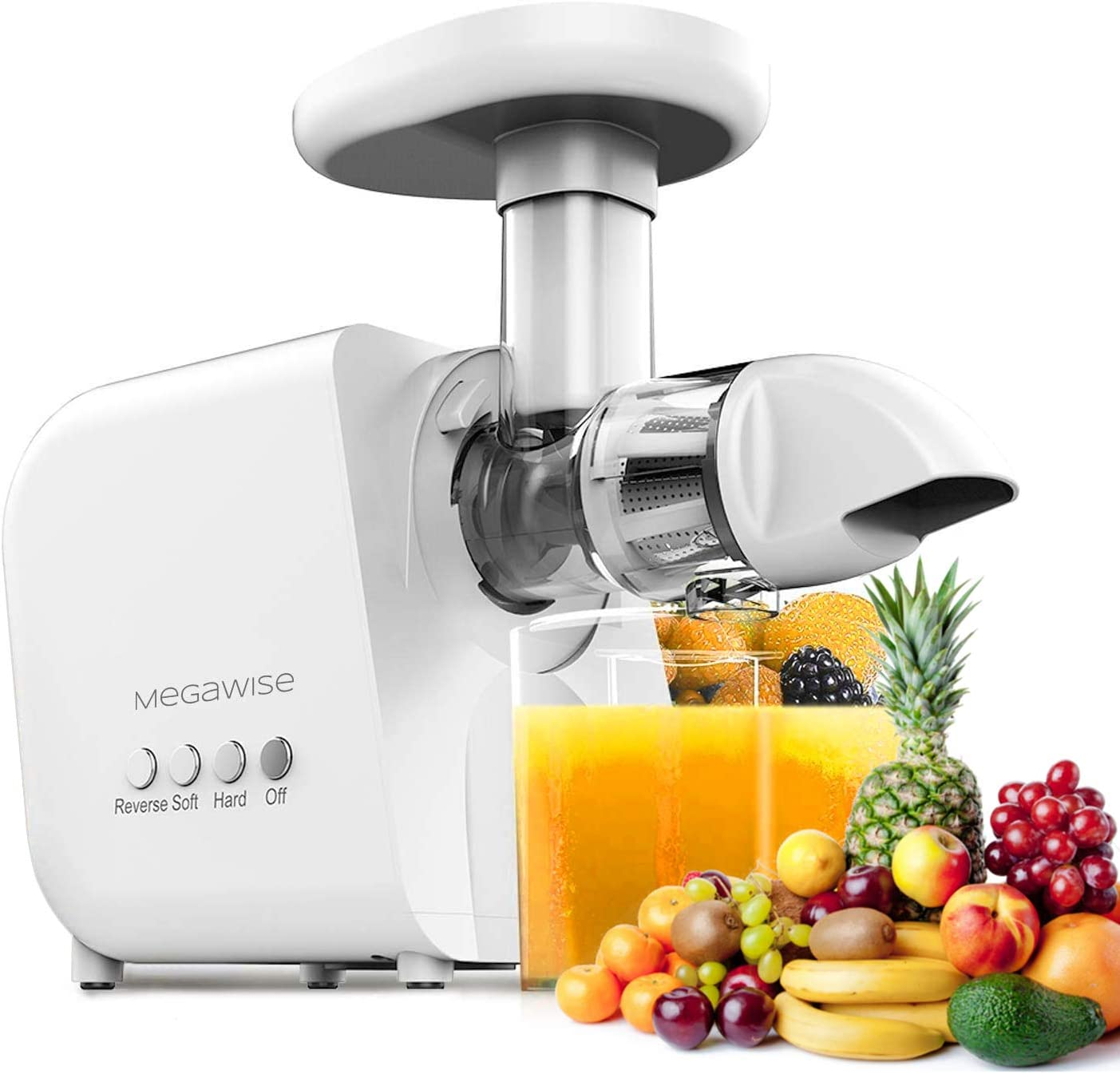 Juicer Machines, MEGAWISE Slow Masticating Juicer 9 Segment Spiral 2 Speed Modes 50dB Quiet Motor Easy to Clean Reverse Function & BPA-Free Cold Press Juicer with Brush for Vegetables and Fruits