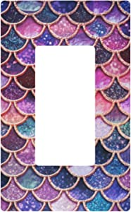 Single Gang Rocker Switch Plate - Pink Mermaid Scale Light Outlet Wall Plate Decorator Wallplate Cover 2.9
