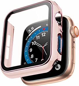 Swhatty Case Compatible with Apple Watch 44mm 40mm 42mm 38mm, Bumper Built in Tempered Glass Screen Protector, Protective Cover for iWatch Series SE 6 5 4 3 2 1 Women Men Rose Pink Edge Pinksand, 38mm