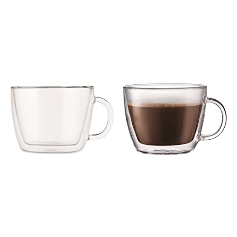 Bodum Bistro Double Wall Cafe Latte Cup Borosilicate Glass 045 L15 Oz Transparent Pack Of 2