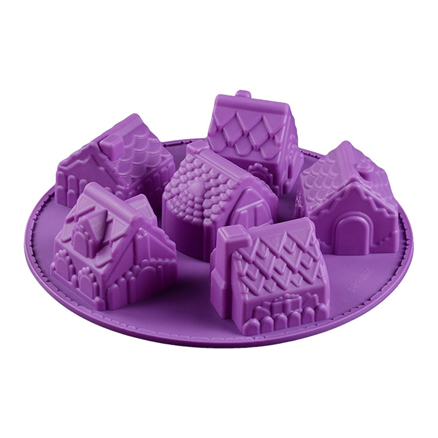 Gydthdeix 1 Pcs 6 Cavity House Jelly Christmas Biscuits Soap Silicone Chocolate Candy Cake Ice Cube Muffin Pan Baking Making Mould Mold Set by Gydthdeix