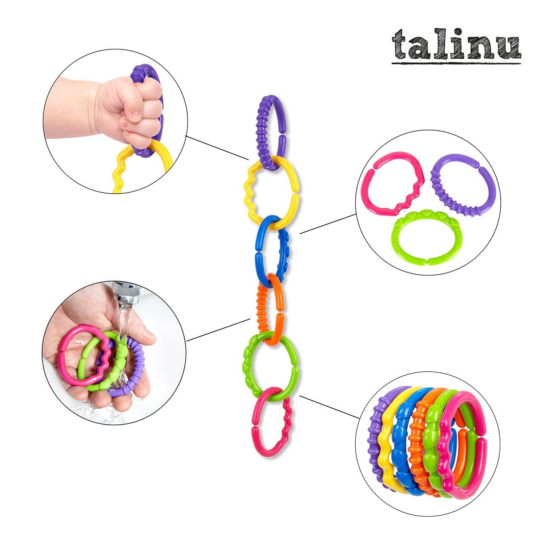 Kinderwagenspielzeug Babyspielkette Wagenkette TALINU Kinderwagenkette bunt 24-teilig