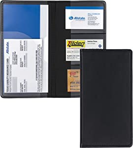 Samsill Car Registration Holder - Vehicle Glovebox Organizer Wallet for Insurance Documents, Key Contact Information Cards, and More, Black