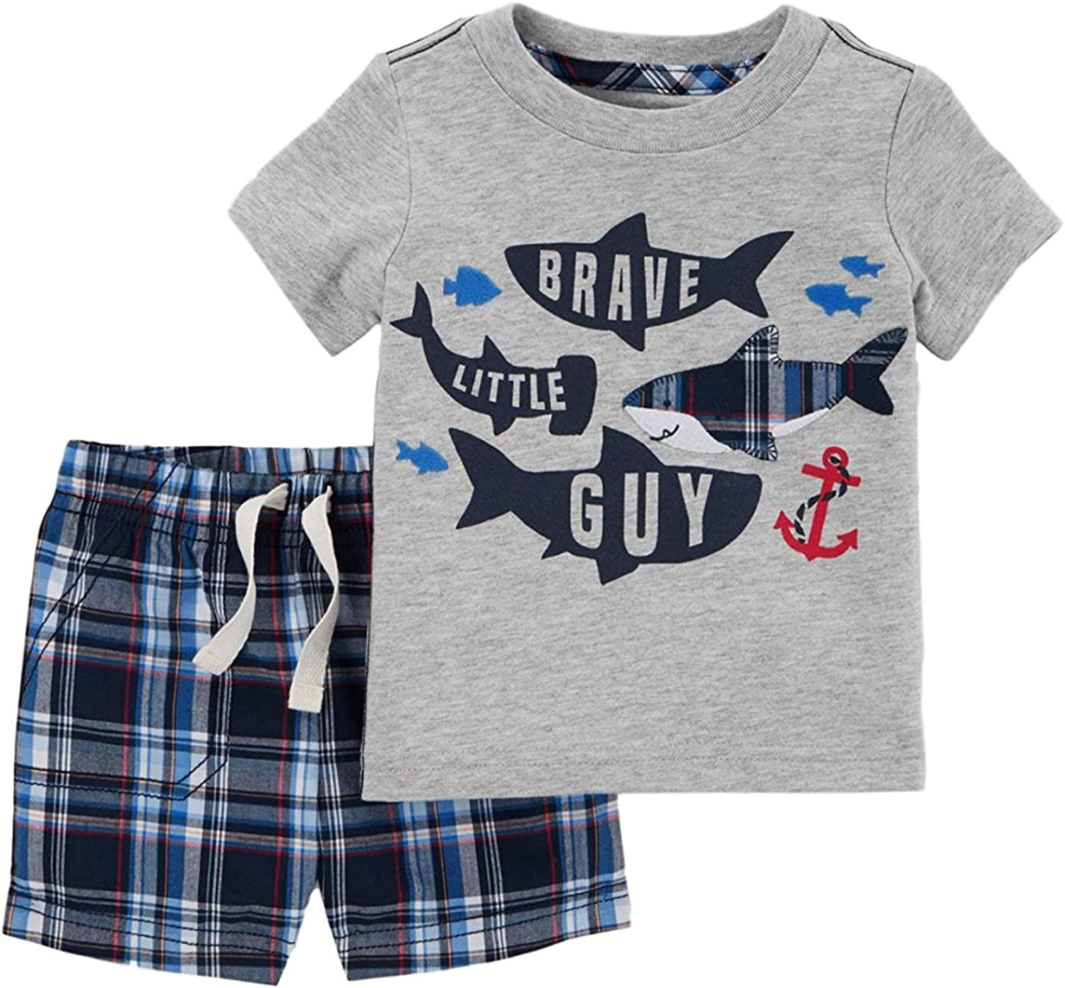 Carters Just One you Baby Boys 2pc Sharks//Plaid T-Shirt Set