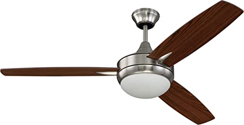 Craftmade 3 Blade Ceiling Fan 52 Inch with Dimmable LED Light and Wall Control TG52BNK3 Targas, Brushed Polished Nickel