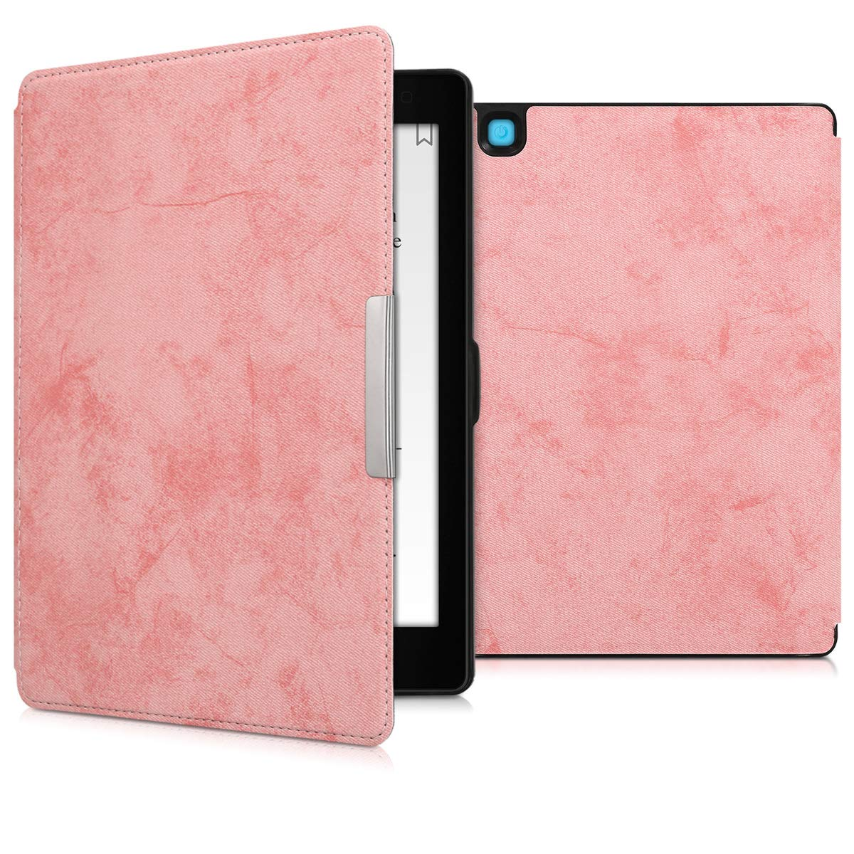 kwmobile Case for Kobo Aura ONE - Book Style PU Leather Protective e-Reader Cover Folio Case - Light Pink