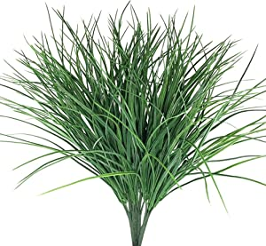 4pcs Artificial Fake Grass Plants Flowers Faux Plastic Wheat Grass Outdoor UV Resistant Greenery Shrubs Plant for Outdoor Planters Wedding Indoor Outside Hanging Home Garden Décor