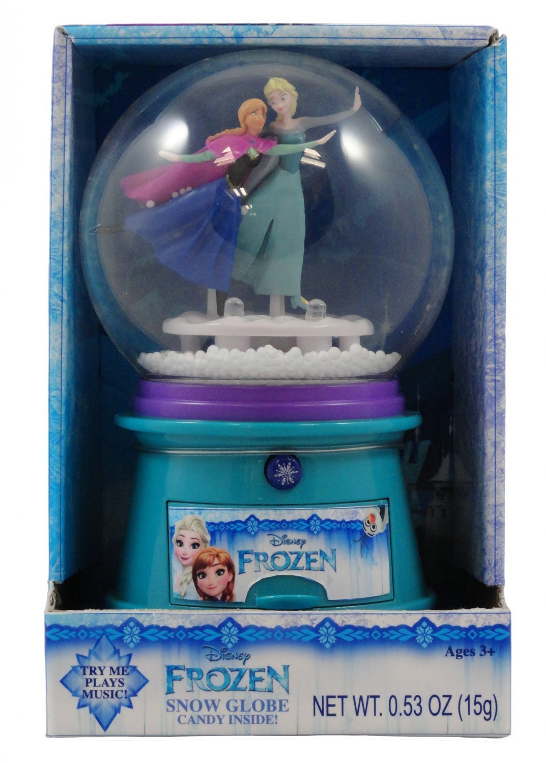 Disney Frozen Anna and Elsa Light up Musical Snowglobe with Candy Inside