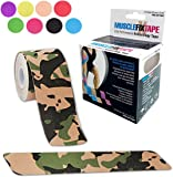 Kinesiology Tape by MUSCLE FIX PRO Therapeutic Sports Athletic Kinetic Precut Roll | Breathable Water Resistant Strong Adhesive Pain Relief Technology | 20 strips: 10 inches x 2 inches