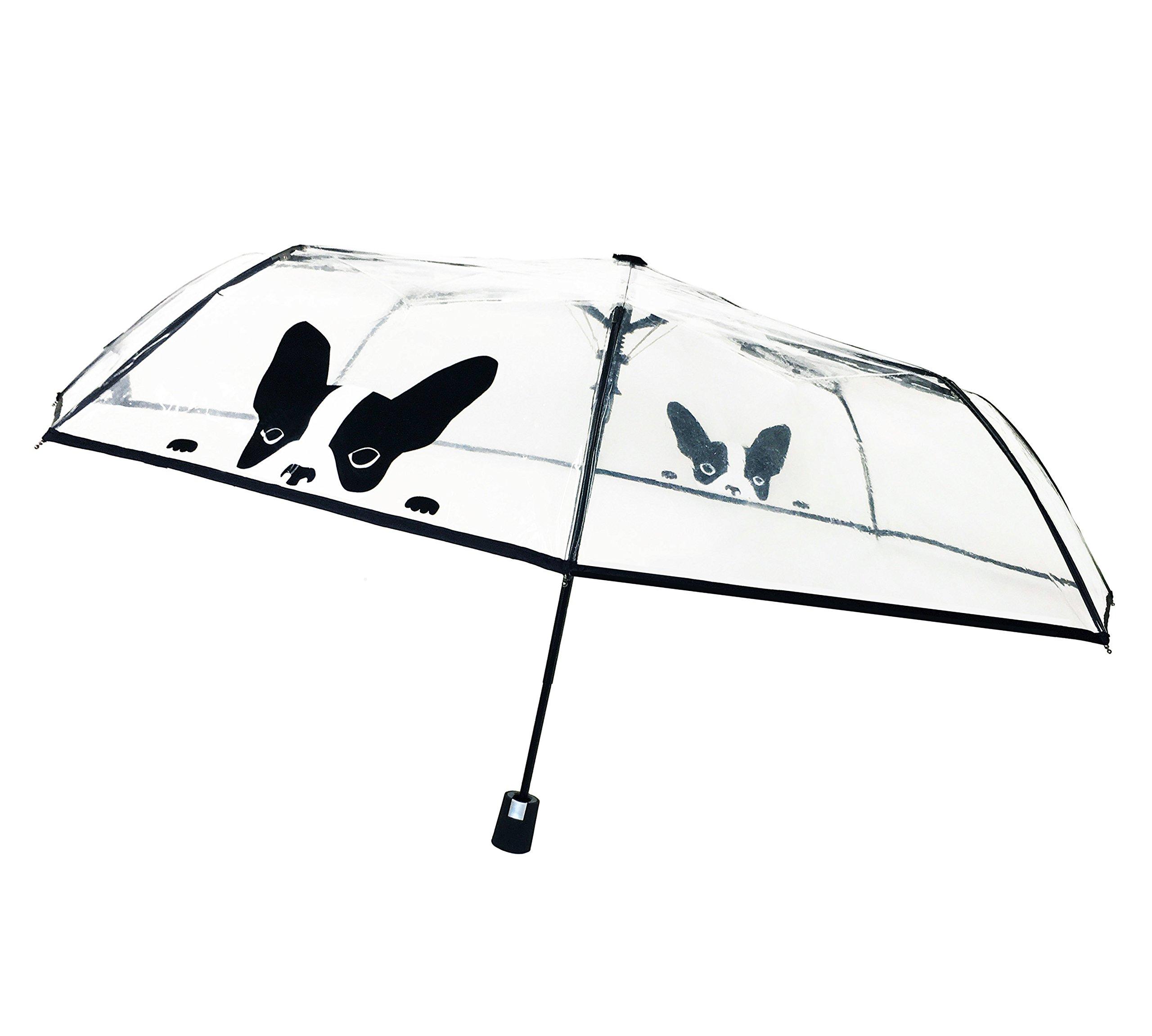 SMATI Clear Folding Umbrella - Compact - Automatic Open - Sturdy - French Bulldogs - French Design