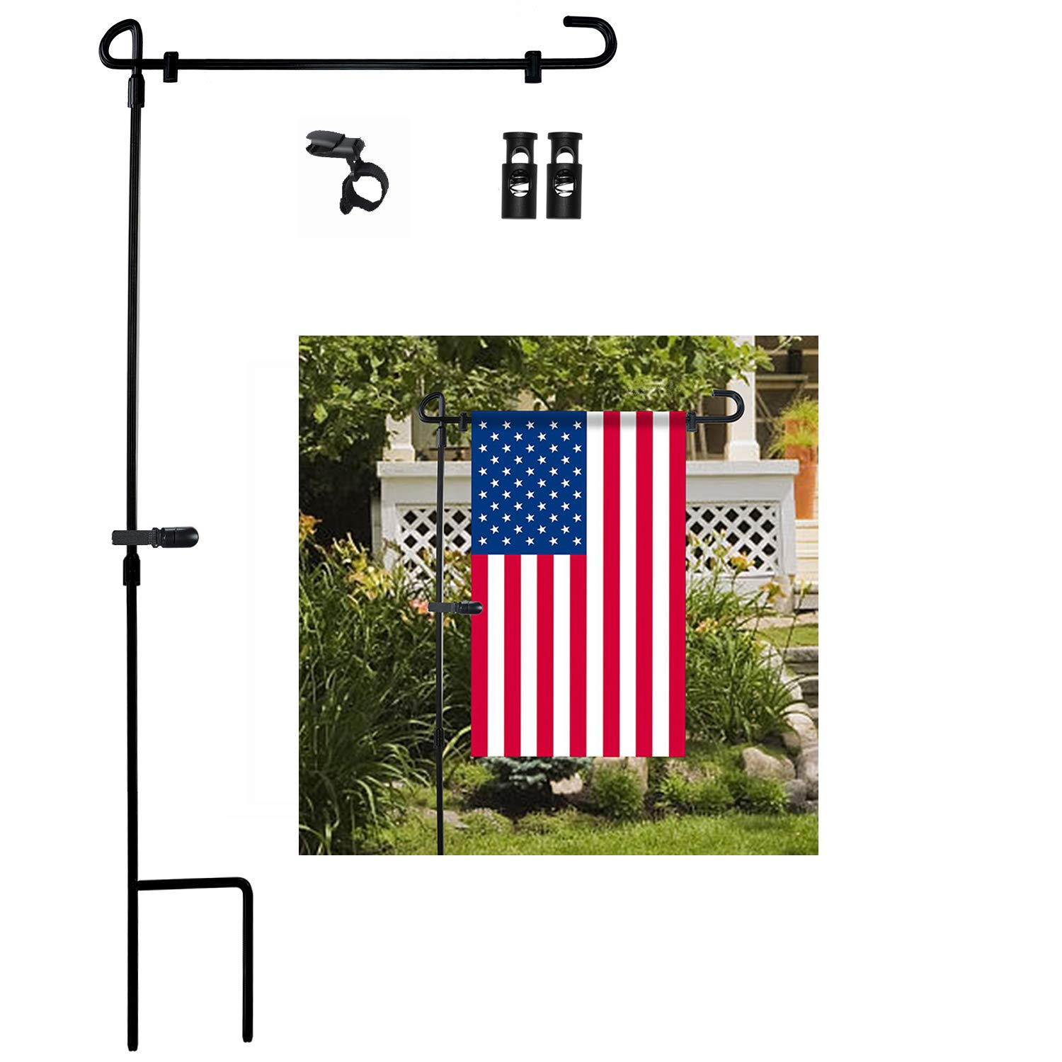 Incroyable Garden Flag Stand, Premium Garden Flag Pole Holder Metal Powder Coated  Weather Proof Paint With One Tiger Anti Wind Clip And Two Anti Wind Spring  Stoppers ...