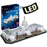CubicFun 3D Lighting Puzzle U.S. Capitol Washington with 6 LED Bulbs Architecture Building Model Kits Toys for Adults Lightin