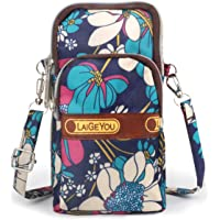 Idefair Bolso bandolera floral para niñas y niñas Bolso bandolera para teléfono móvil Bolso de algodón para teléfono…