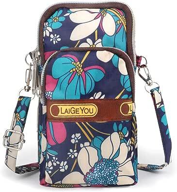 Idefair Bolso bandolera floral para niñas y niñas Bolso bandolera para teléfono móvil Bolso de algodón para teléfono móvil para llevar tarjeta Bolso para teléfono móvil Monedero