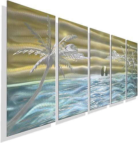 Gold, Aqua Silver Abstract Ocean Scene Metal Wall Art – Island-Style Palm Tree Ocean Contemporary Beach D cor – Castaway Again by Jon Allen – 64 x 24