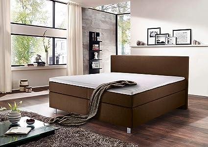 lifestyle4living Cama con somier 180 x 200, Color marrón ...