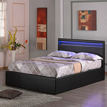 Tokyo Led Light Headboard 4ft 6in Faux Leather Ottoman Storage Bed W