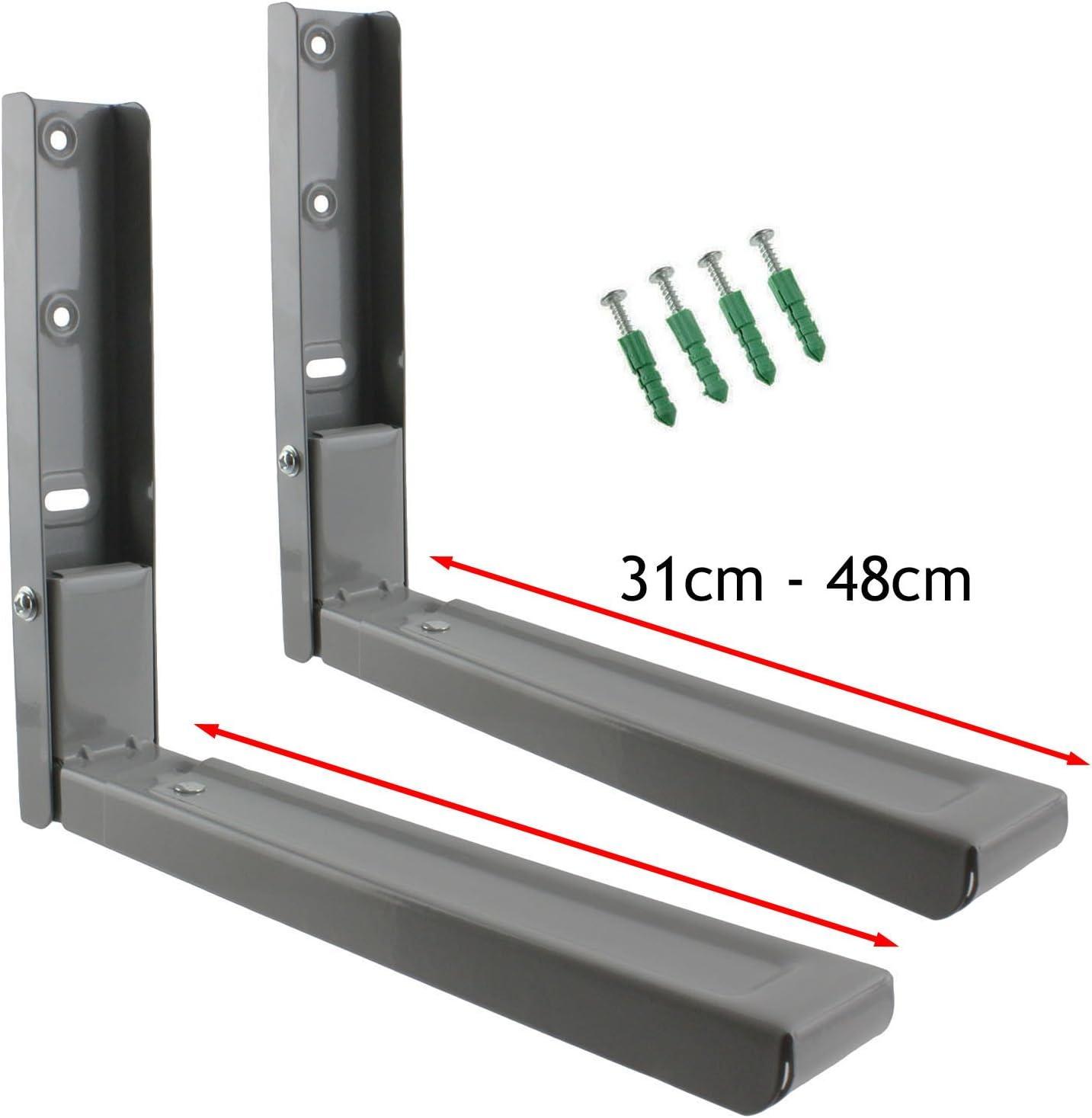 Spares2go Soportes de montaje de pared extensibles para Daewoo microondas (plateado/gris)