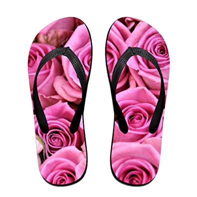 8675560a1297 Image Unavailable. Image not available for. Color  Jinqiaoguoji Customized  Casual Rose Bud Flower Pink Womens Sandals Beach ...