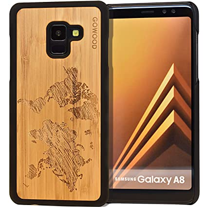best service d38e7 56237 Samsung Galaxy A8 Wood Case | Real Bamboo World Map Engraved Wooden  Backplate with Polycarbonate Protective Bumper and Shock Absorbing Rubber  Coating ...