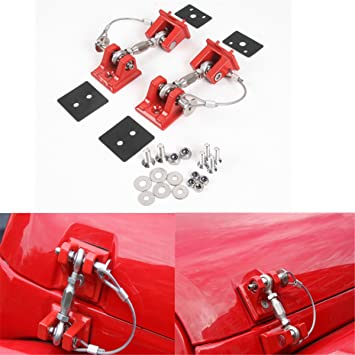 IBACP A Pair Red Hood Latch Catch Locking Kit Buckle for Jeep Wrangler JK 2007-2017 2018 Engine Hood Lock Latches