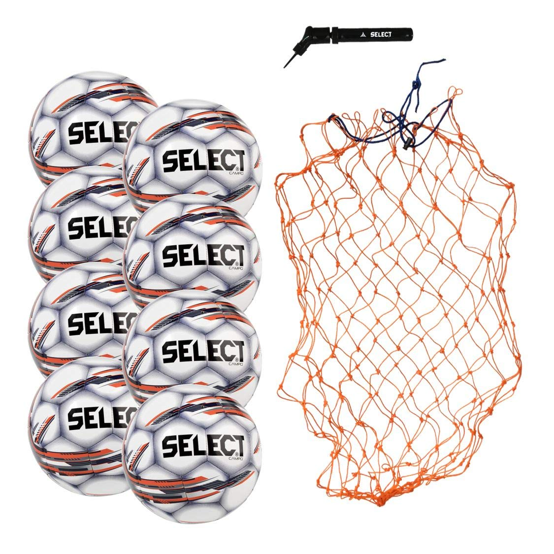Select Campo Soccer Ball Package - Pack of 8 Soccer Balls with Ball Net and Hand Pump, White, 3