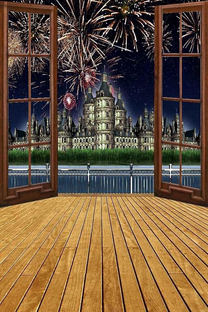 GladsBuy Castle And Firework 8' x 12' Digital Printed Photography Backdrop Castle Backdrop Background YHB-006