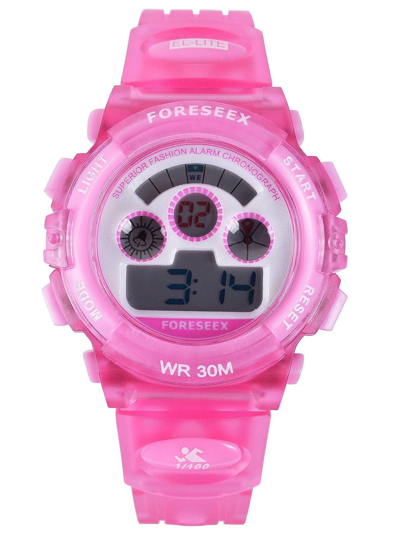 FSX-519G Reloj digital niñas resistente al agua LED reloj de muñeca (rosa): Amazon.es: Relojes